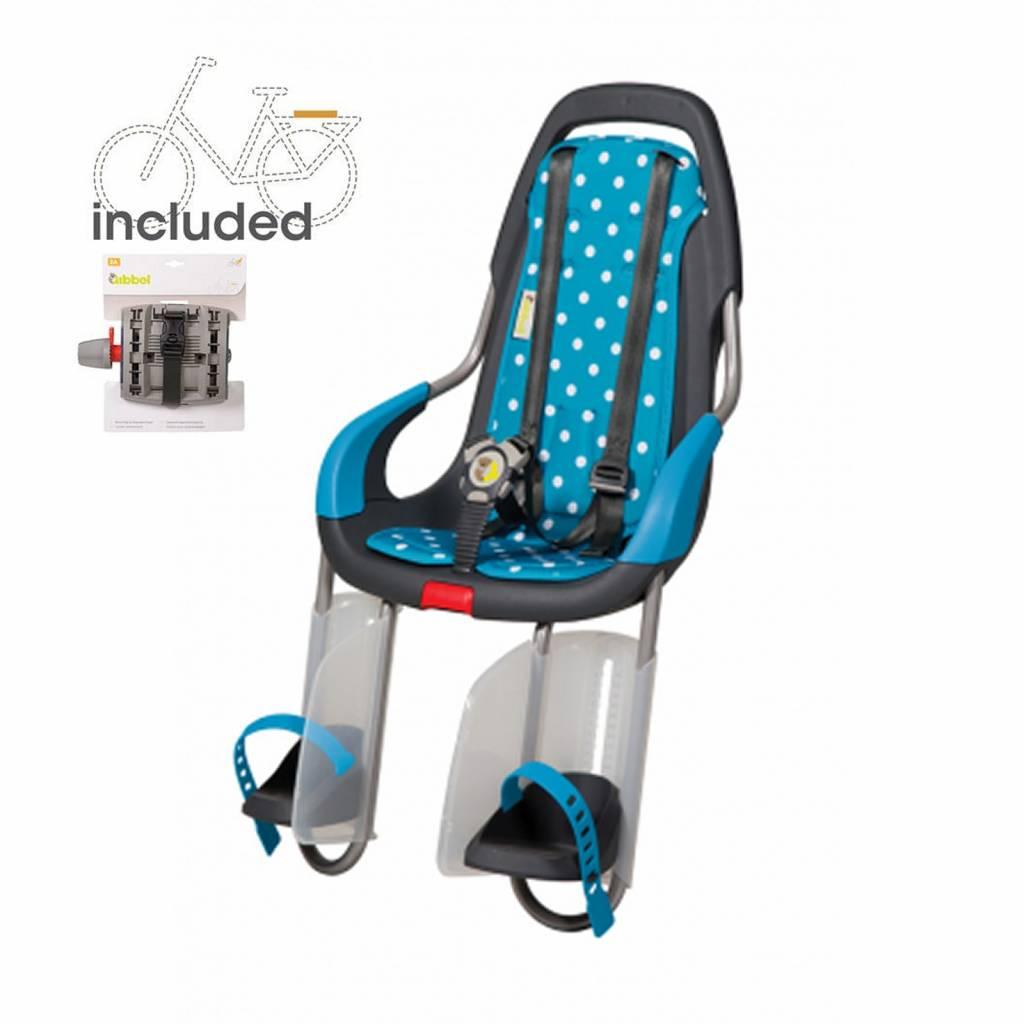 achterzitje inclusief bevestigings materiaal voor bagagedrager Polka dots blue