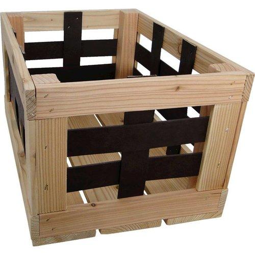 Woodybox  transport krat met zwart leren raster