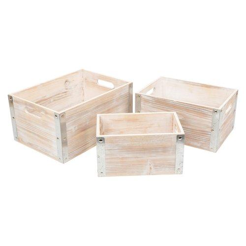 Legler Fietskrat van stoer hout met stalen hoek profiel Medium