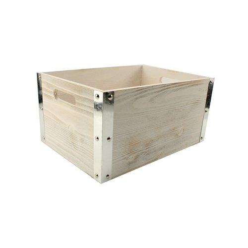 Legler Fietskrat van stoer hout met stalen hoek profiel Large