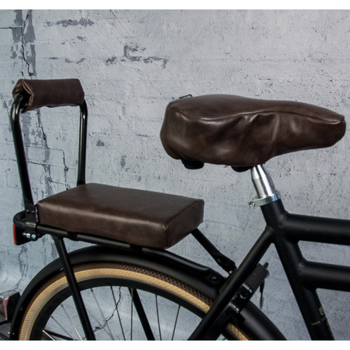 Ohmiomine Bagagedragerkussen Fietskussen Leather Look Chocolade Bruin