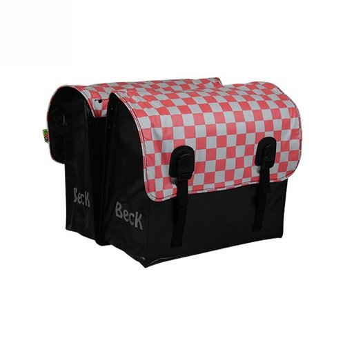 Beck Dubbele Fietstas Classic Pink Checker