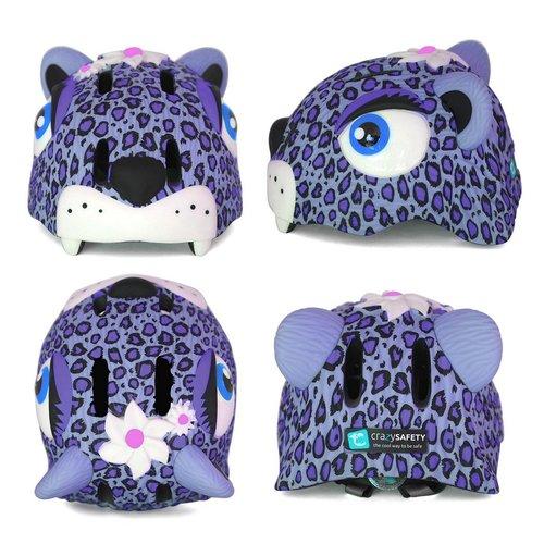 Crazy Safety Kinderhelm / Fietshelm Paarse Luipaard / Purple Leopard Small 49-55 cm