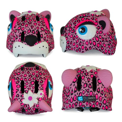 Crazy Safety Kinderhelm / Fietshelm Roze Luipaard / Pink Leopard Small 49-55 cm