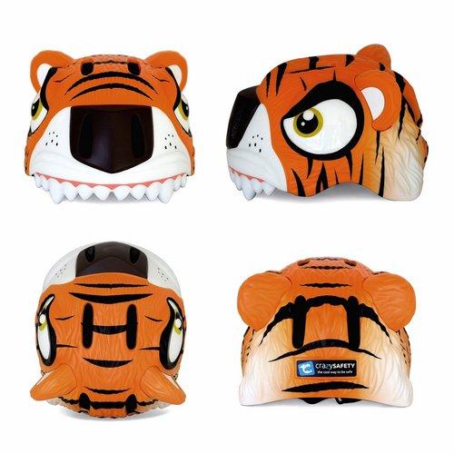Crazy Safety Kinderhelm / Fietshelm Oranje Tijger / Orange Tiger Small 49-55 cm