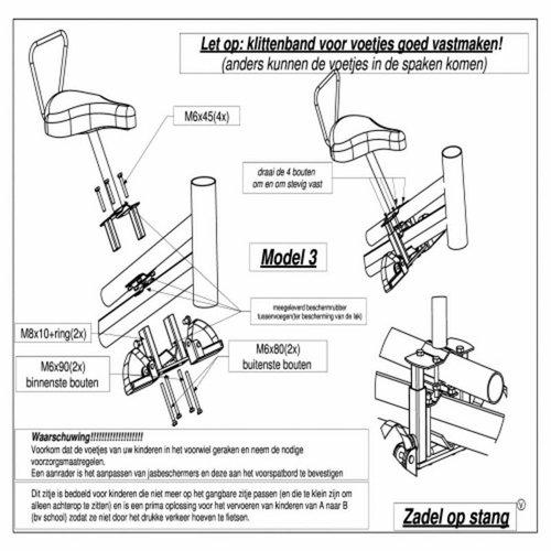 Buiszadel Zadel op Stang voor een Damesfiets met aluminium dubbel frame (Buiszadel)