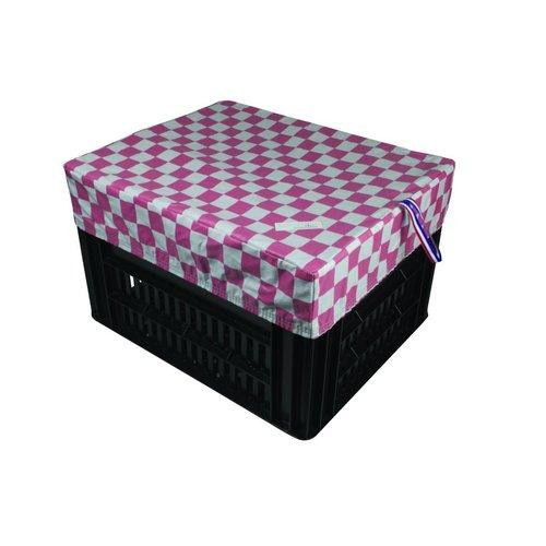 Hooodie Fietskrat Hoes Kratcover Medium Pink Checkers