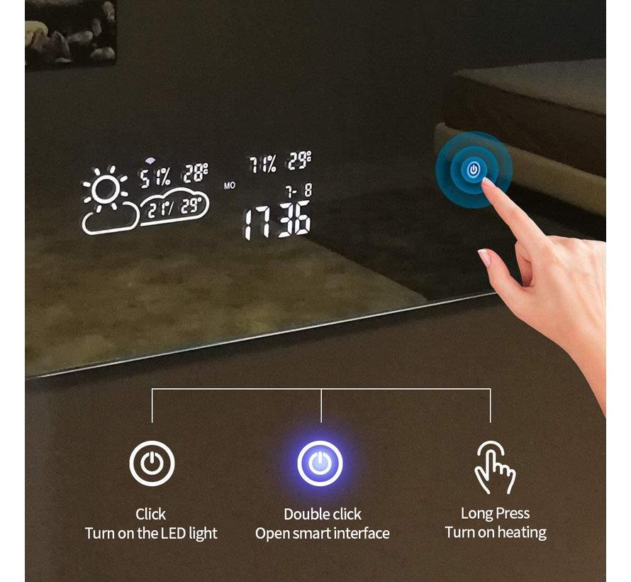 Spiegel met Wifi, tijd en infraroodverwarming 60 x 80 cm 250 Watt