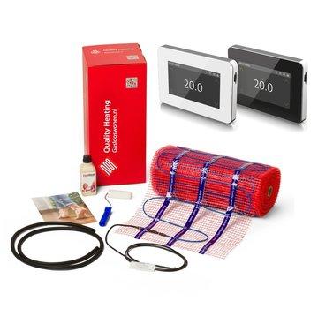 200 Watt elektrische vloerverwarmingsmat set inclusief Wifi design thermostaat V1