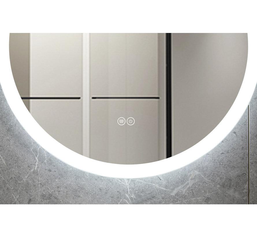Spiegel rond 80 cm frameloos, inbouw led verlichting en anti-condens