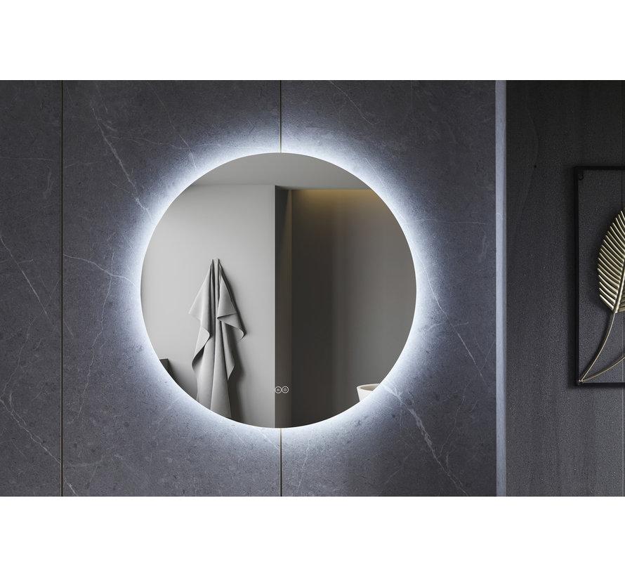 Spiegel rond 80 cm frameloos, rondom led verlichting en anti-condens