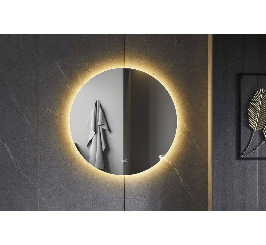 Spiegel rond 60 cm frameloos, rondom led verlichting en anti condens