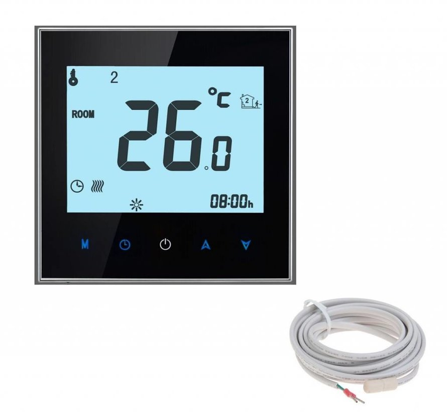 200 Watt mat set inclusief Soft Touch 7-Daags Programmeerbare thermostaat