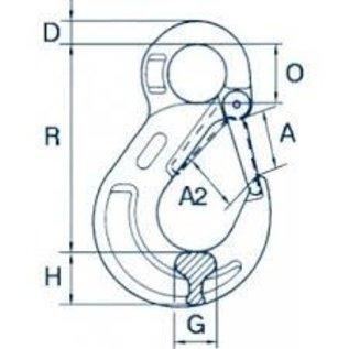 Cartec ooghaak met veiligheidsklep (gietdeel) grade 80