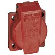 Showtec PVC schuko inbouw 230V/240V female rood