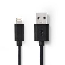 Nedis Oplaadkabel Apple lightning 8-pins naar USB 1m zwart