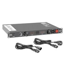 Adam Hall PCL10 PRO 19 inch stroomverdeler met LED verlichting en spanning- en stroommeter