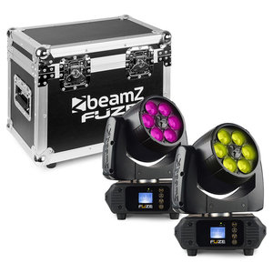 Beamz 2x Fuze610Z Wash LED movinghead met flightcase