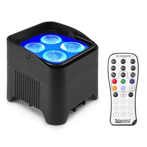 Beamz BBP94W verticale LED par op accu RGBWA+UV WDMX