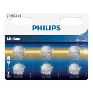 Philips CR2032 3v lithium knoopcel batterij (6 stuks)