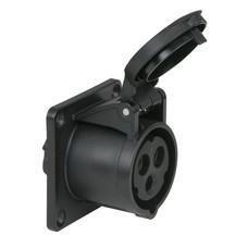PCE CEE 16A 3-polige inbouw socket female zwart