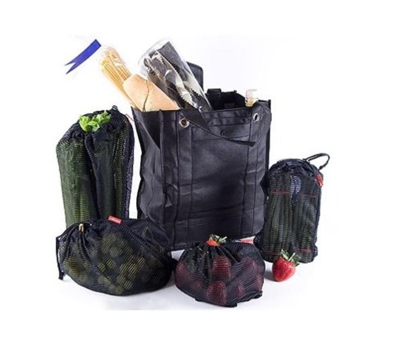 Zwarte boodschappentas, met extra 4 zakjes.