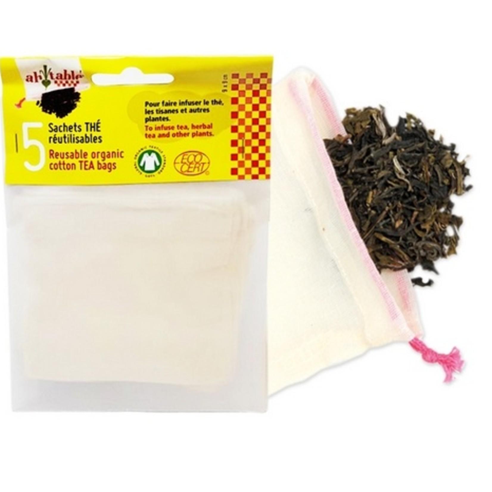 Vijf herbruikbare theezakjes biokatoen
