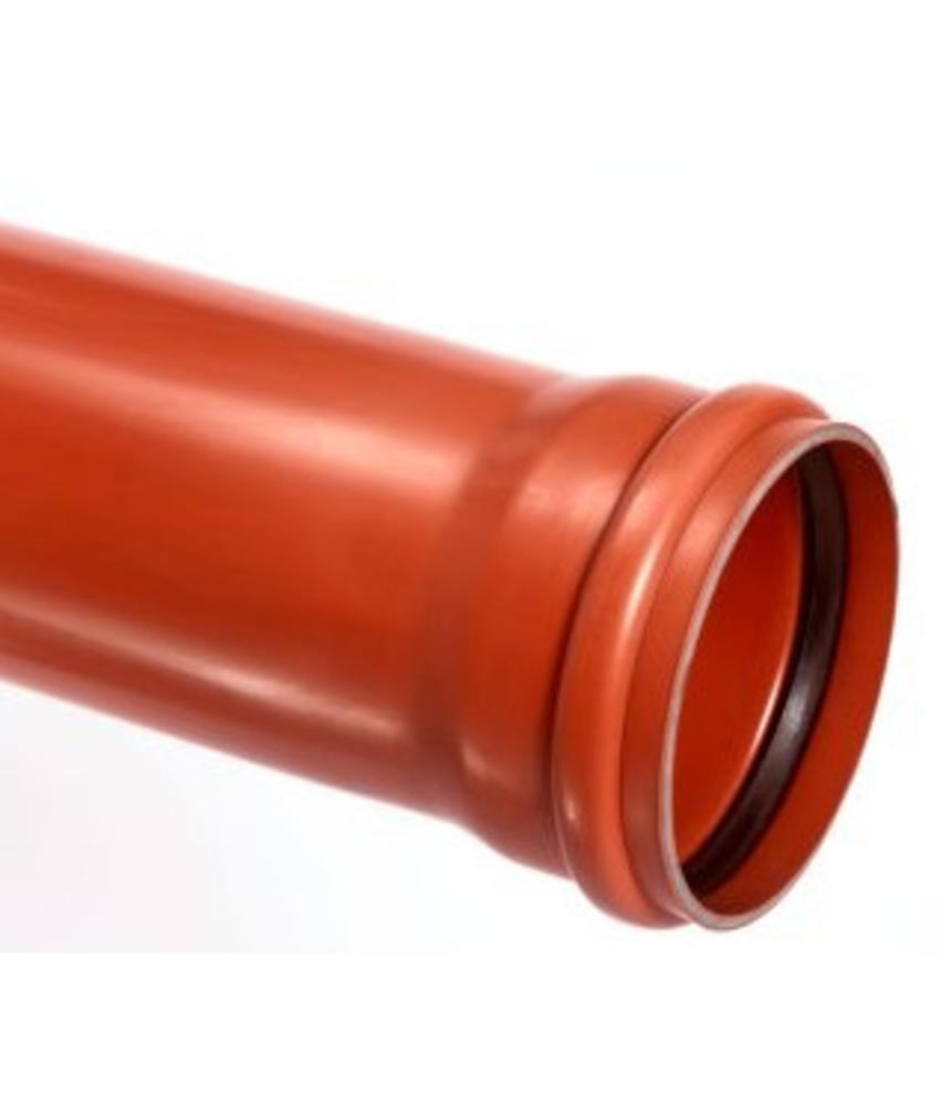 PVC afvoerbuis Ø 125mm SN8 bruin met manchetmof