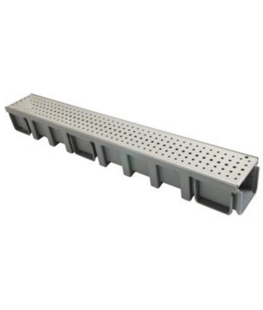 Nicoll Connecto 100 lijngoot met geperforeerd RVS sleufrooster 100 x 11,5 cm