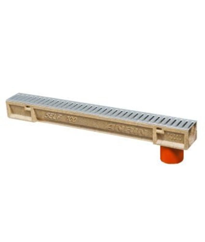Anrin Self-100 lijngoot RVS sleufrooster 100 x 10 cm incl. uitloop