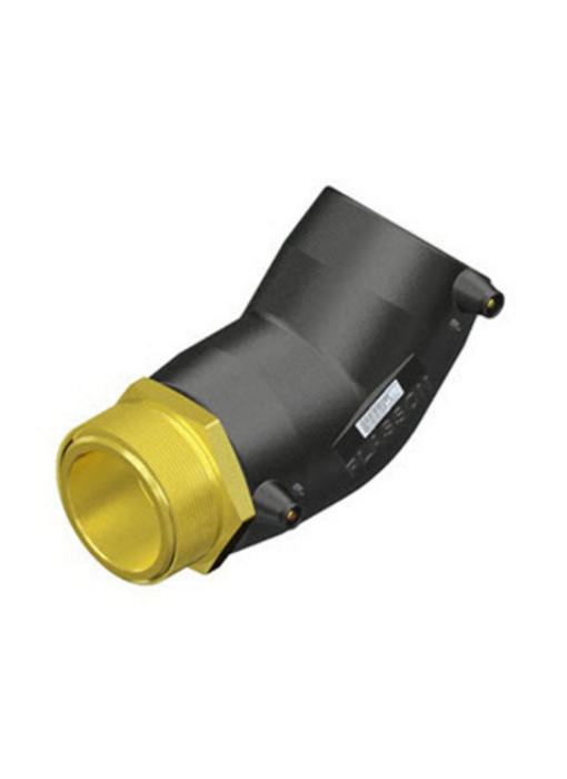 """Plasson Elektrolas overgangsknie 32 mm x ½"""" - 45° messing bu.dr."""