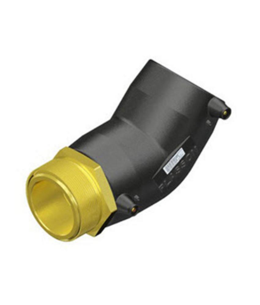 """Plasson Elektrolas overgangsknie 32 mm x 1½"""" - 45° messing bu.dr."""