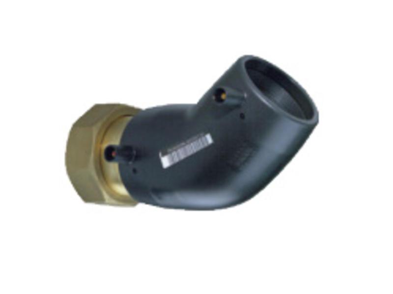 """Plasson Elektrolas overgangsknie 40 mm x 1½"""" - 45° messing bi.dr. met losse wartel"""
