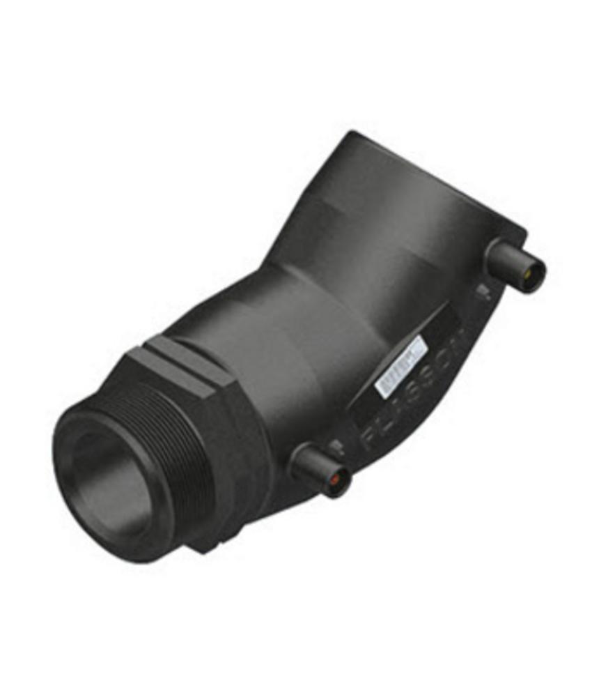 "Plasson Elektrolas overgangsknie 63 mm x 1½"" - 45° voor water bu.dr."