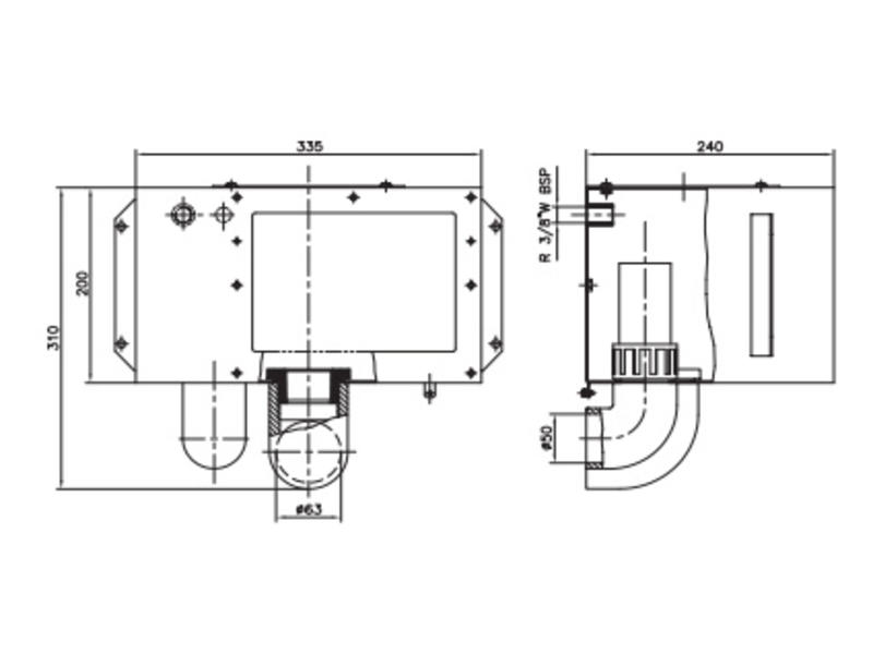 AstralPool Skimmer body A-201 behuizing met ⌀50 overloop RVS-316