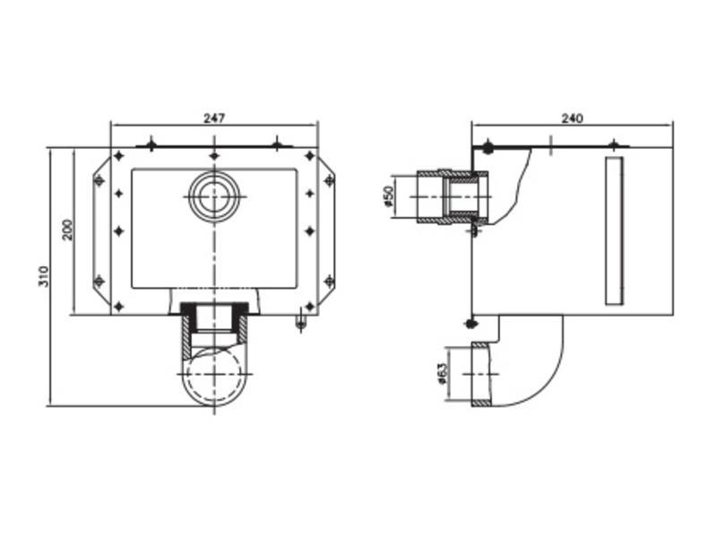AstralPool Skimmer body A-202 behuizing met ⌀50 overloop RVS-316
