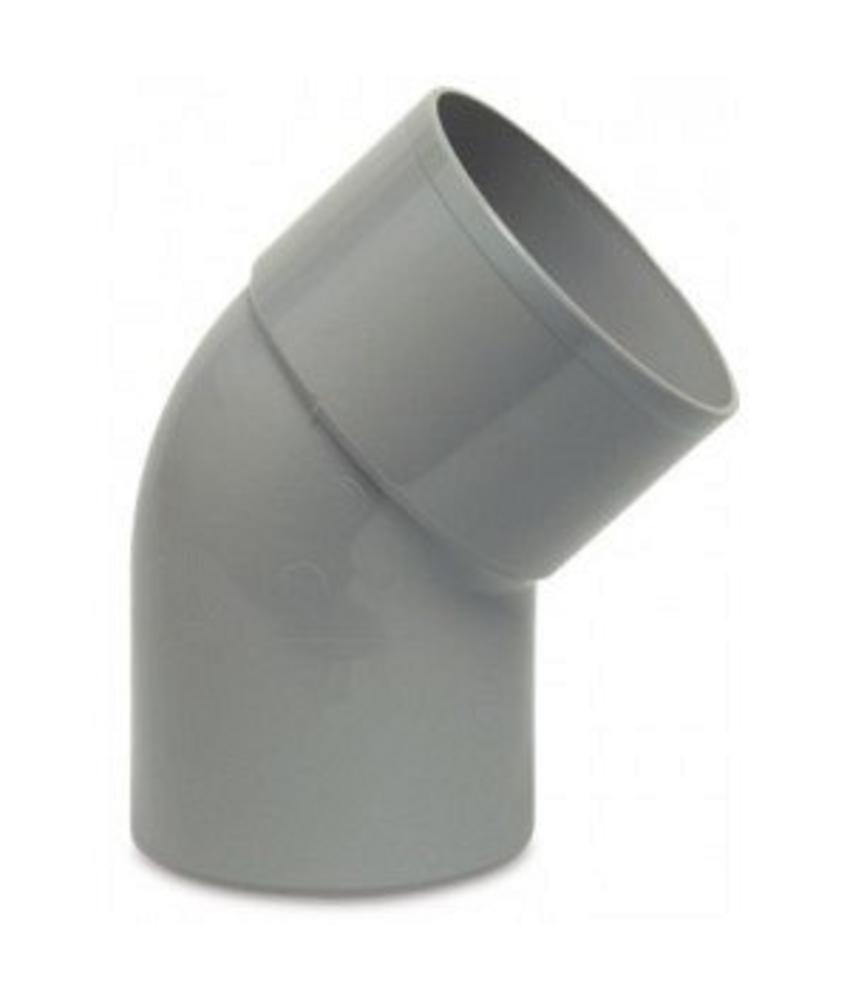 PVC HWA bocht mof / spie 45° - 60 mm