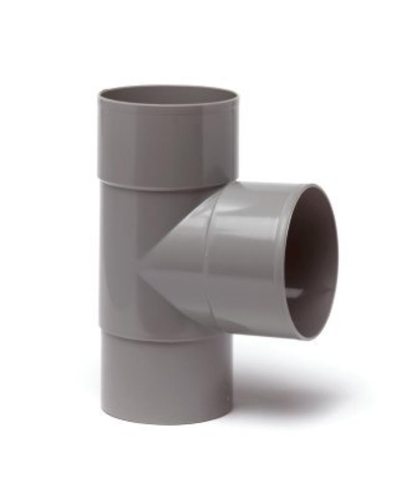PVC HWA T-stuk 2x mof 90° - 70 mm verjongd spie-eind