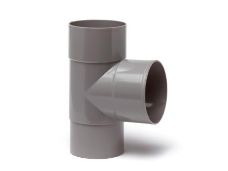 PVC HWA T-stuk 2x mof 90° - 80 mm verjongd spie-eind