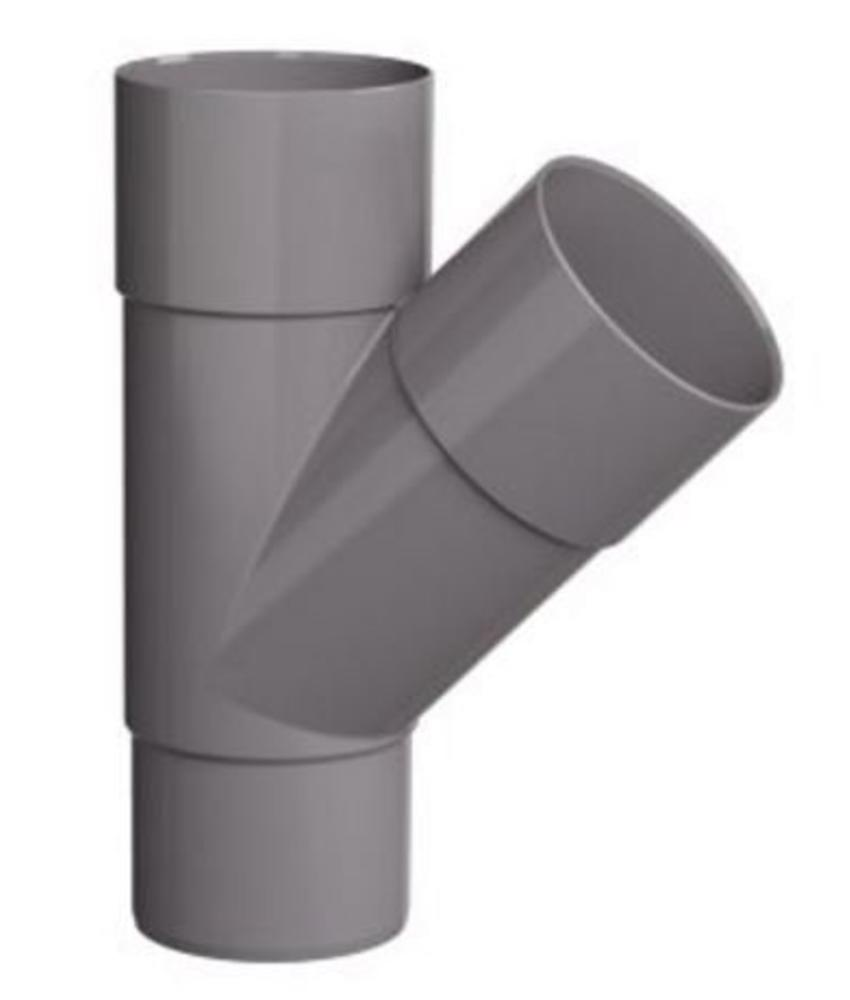 PVC HWA T-stuk 2x mof 45° - 60 mm verjongd spie-eind