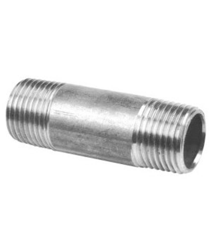 """RVS Pijpnippel ½"""" x 60 mm"""