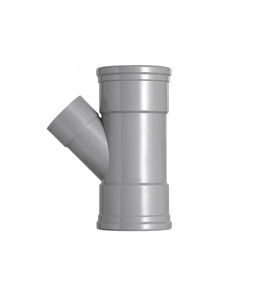 PVC T-stuk 45 graden SN4 125 x 50 mof/mof lijm