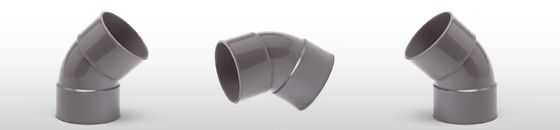 PVC Bocht 45gr, mof/mof - lijmverbinding (32 t/m 200mm)