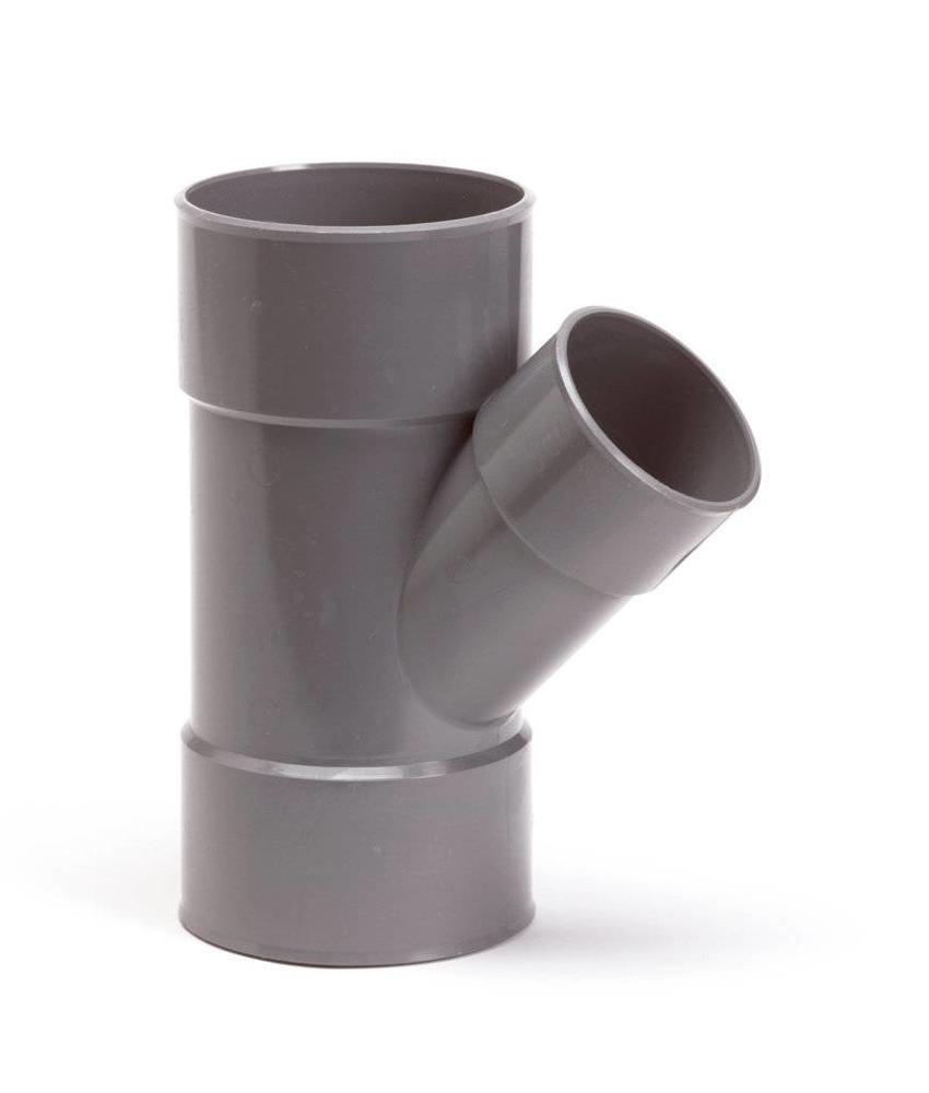 PVC T-stuk 45gr, Ø 125 x 75mm mof/mof - lijm