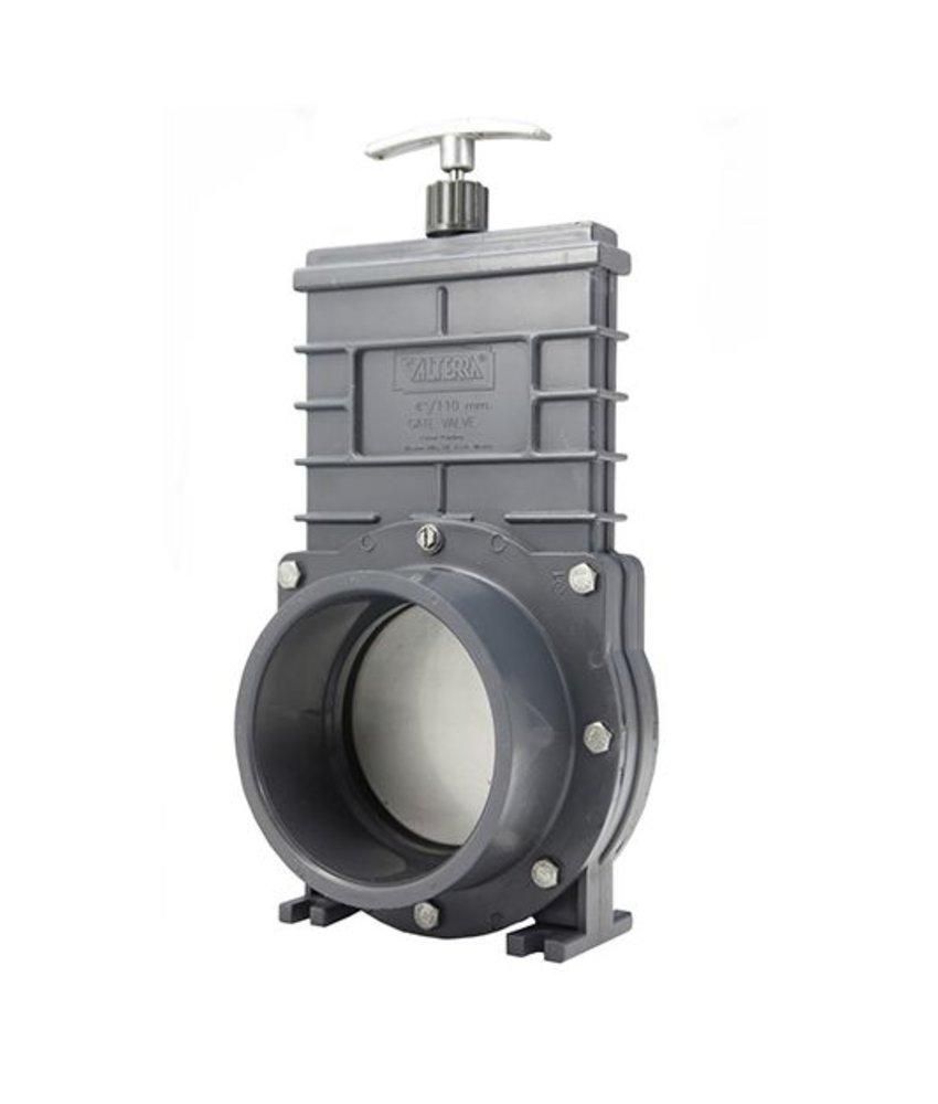Valterra PVC schuifkraan 110 mm - 2 x lijmmof / RVS schuif
