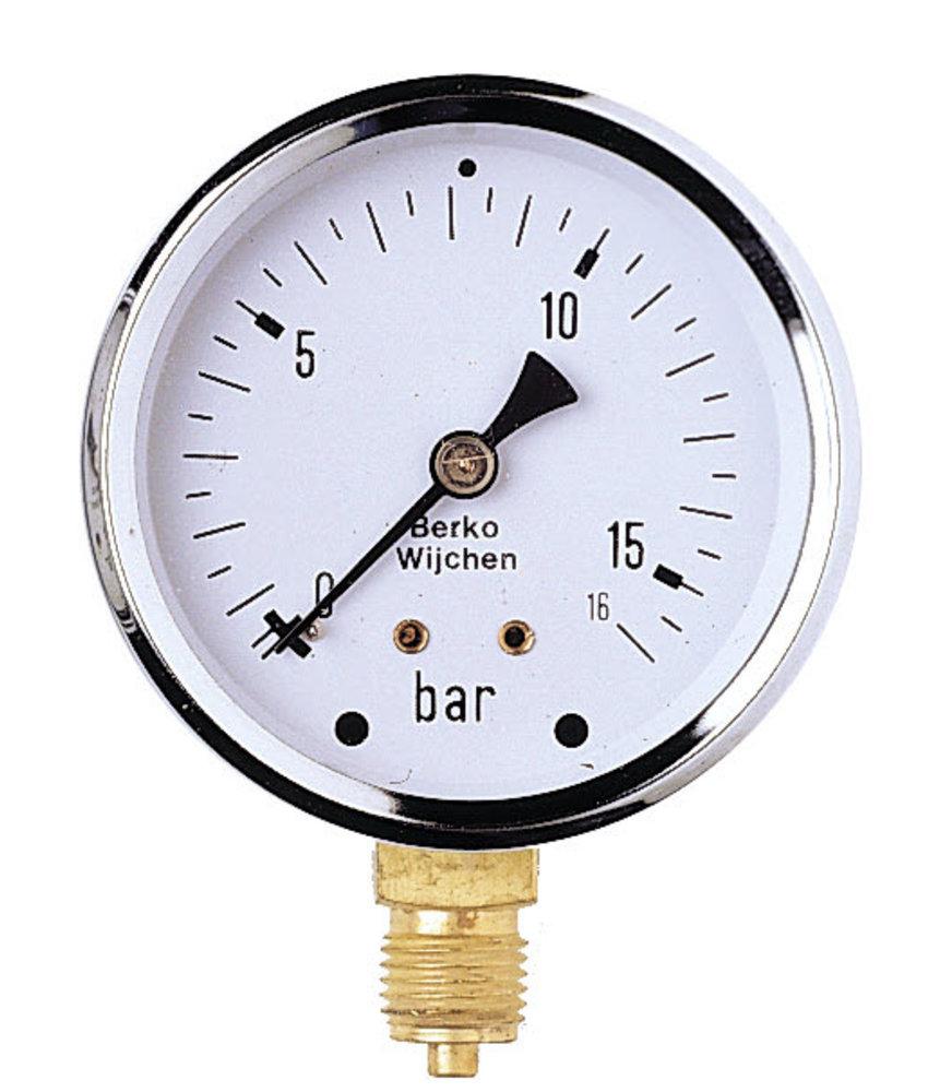 IrriTech Manometer 0-10 BAR glycerine gevuld 1/4'' bu.dr.