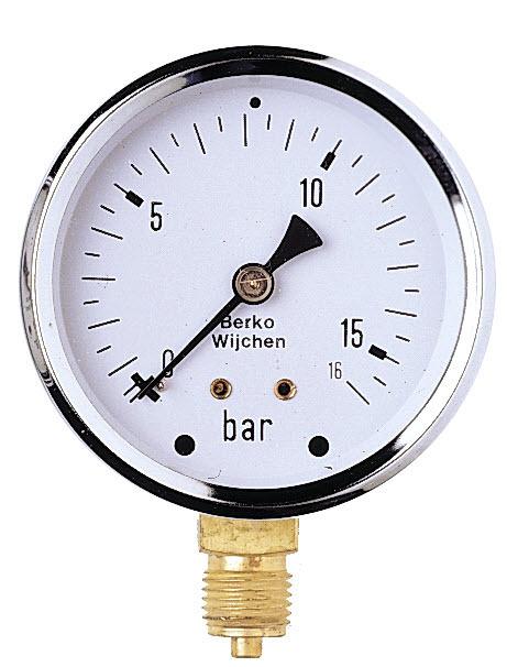 Manometer 0-16 BAR glycerine gevuld 1/4'' bu.dr ...