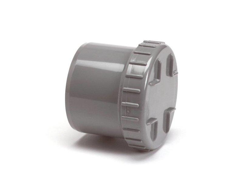PVC eindstuk met schroefdeksel, 1x uitwendig lijm - 125mm