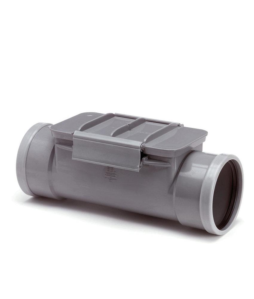 PVC ontstoppingsstuk 125 mm  mof/mof met keerklep SN8