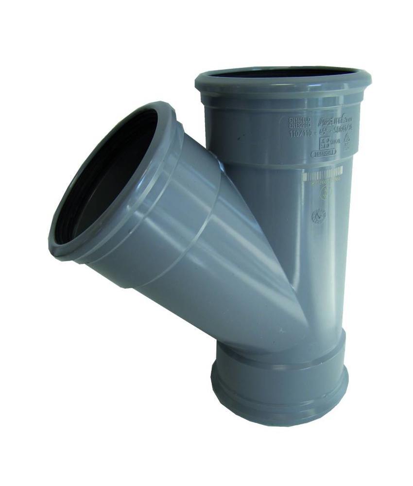 PVC T-stuk 45gr Ø 110mm SN4, 3 x mof